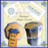 "BLUE FLOWER OCTAGONAL 4"" GIFT BOX"