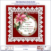Pink Poinsettias Lace & Pearls On Red 6 x 6 Card Kit + Insert