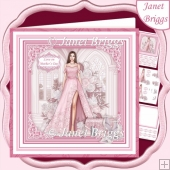 A SPECIAL EVENING PINK & BRUNETTE 7.5 Decoupage Insert Card Kit