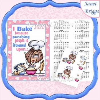 JJ 2 I Bake Because 2020 A4 Calendar With Decoupage Humorous Kit