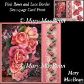 Pink Roses and Lace Border Decoupage Card Front