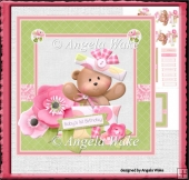 Teddy girl first birthday 7x7