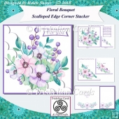 Floral Bouquet Scalloped Edge Corner Stacker Card Front