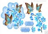 Blue flowers on a topper/tag with butterflies