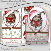 Christmas Kitten Over The Edge Decoupage Card