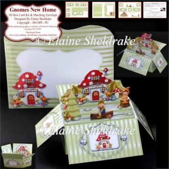 Gnomes New Home - 3D Box Card Kit & Matching Envelope