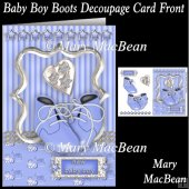 Baby Boy Boots Decoupage Card Front
