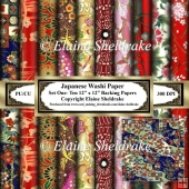 Japanese Washi Papers - Set One - Ten Sheets Of 12 x 12