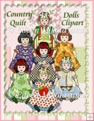 Country Quilt Dolls Clipart Collection Two
