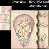 Cream Roses - Wavy Offset Card