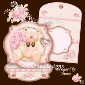 Bouquet Bear Shaped Easel Card