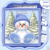 CHRISTMAS SNOWMAN WOBBLY HEAD CARD 7.5 Decoupage & Insert Kit