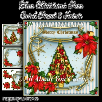Blue Christmas Tree Card Front & Insert