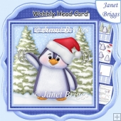 CHRISTMAS PENGUIN WOBBLY HEAD CARD 7.5 Decoupage & Insert Kit