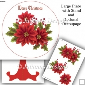 Christmas Poinsettia Plate and Stand