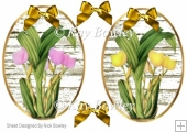 two pretty tulip toppers pink/yellow with gold bows