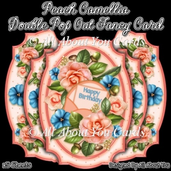 Peach Camellia Double Pop Out Card
