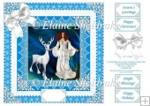 Blue Snow Queen & Reindeer With Vintage Lace - 8 x 8 Card Topper