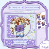 Off to School Thank You Teacher Card Topper & Decoupage Sheet