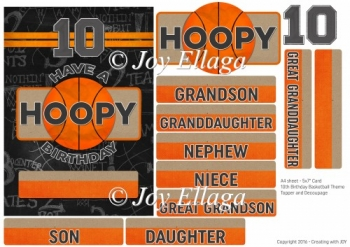 "5x7"" Card Topper 10th Birthday Basketball Theme"
