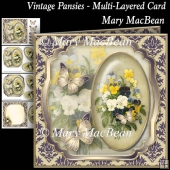 Vintage Pansies - Multi-Layered Card