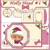 Holly Head #1 Octagon Tag Card