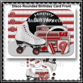 Disco Rounded Birthday Card Front