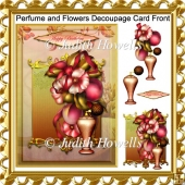 Perfume and Flowers Decoupage Card Front