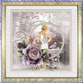 Summer evening 7x7 card with decoupage