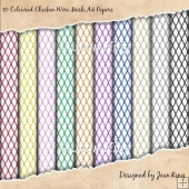 10 Coloured Chicken Wire Mesh A4 Papers