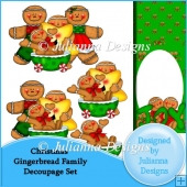 Christmas Gingerbread Family Decoupage Set