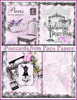 Postcards from Paris Background Backing Papers Set
