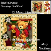 Teddy's Christmas Decoupage Card Front