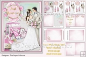 Watercolour Wedding Card with Inserts and Envelope