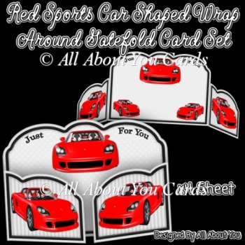 Red Sports Car Shaped Wrap Around Gatefold Card