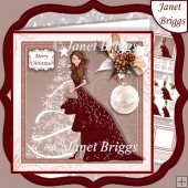 CHRISTMAS LADY IN RED EVENING DRESS 7.5 Decoupage & Insert Kit