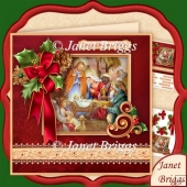 CHRISTMAS HOLLY RIBBON Nativity 7.8 Decoupage Mini Kit