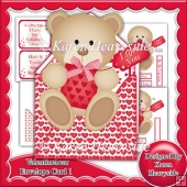 Valentine Bear 1 Envelope Card Kit