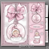 Baby Girl Stocking Bauble Square Mini Kit