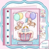 Up And Away Cupcake Day 8x8 Birthday Decoupage Kit