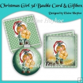 Christmas Girl 3d Bauble Card & Giftbox Set