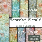 SCRATCHED FLORALS - by Lynne K Crawshaw - digital paper pack