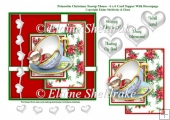 Poinsettia Christmas Mouse In A Teacup - 6 x 6 Card Topper