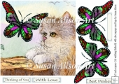 Fluffy Cat watching Butterfly but Thinking You 7x7 w decoupage