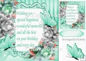Pretty silver & turq roses with butterflies & verse 8x8