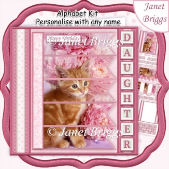 KITTEN & FLORALS 7.5 Alphabet Age Quick Card Kit Create Any Name