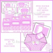 Pink Duckie Flip Lid Gift Boxes And Nappy Shaped Card Set