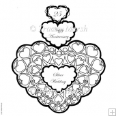 25th Silver Wedding Anniversary Triple Heart Digital Stamp