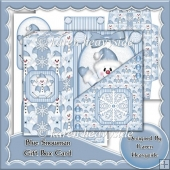 Blue Snowman Gift Box Card