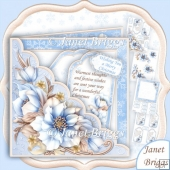 Square Scallop Pocket Christmas Frosted Florals Decoupage Kit